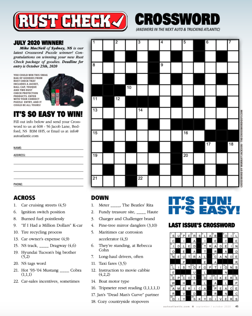 Rust Check Crossword Contest - September, 2020